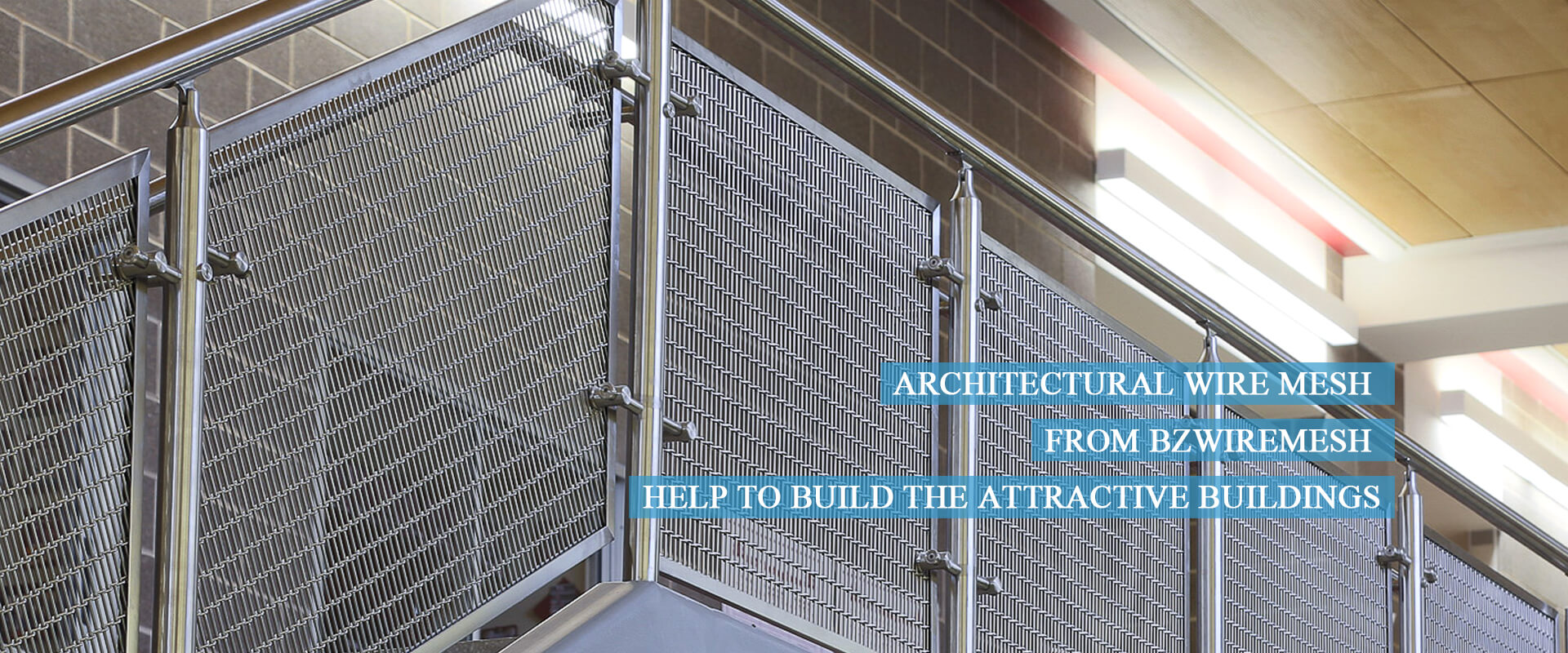 Architectural wire mesh used as handrail infills